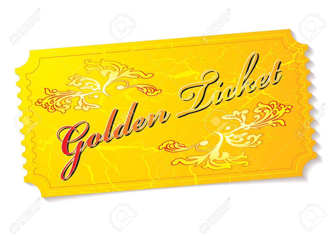 Golden winning prize ticket illustration with floral elements - 7331393