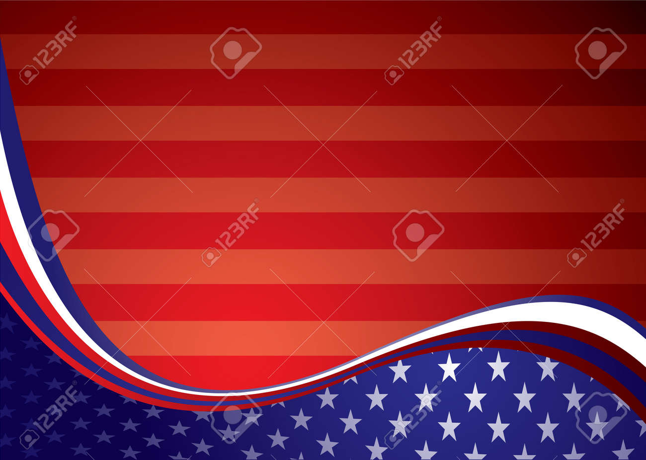 American inspired background illustration with stars and stripes - 7387325