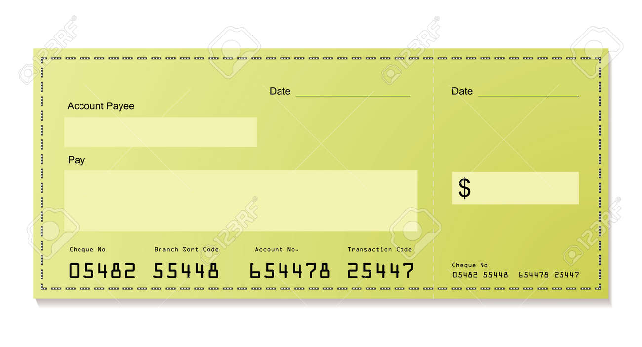 green dollar bank cheque with space for your own information - 7579717