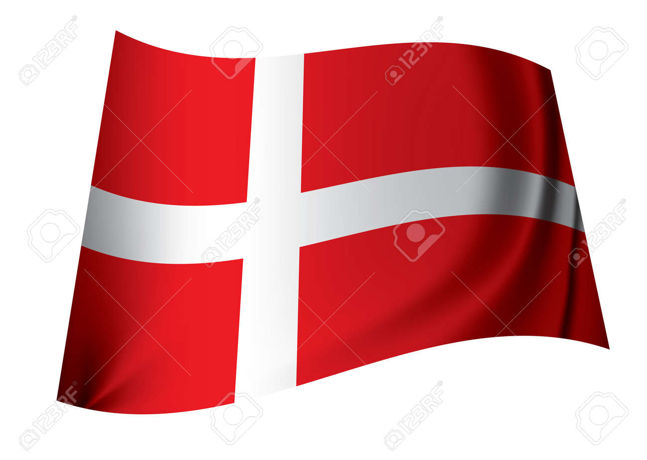 red and white danish flag floating in the wind icon for denmark Stock Photo - 7635495