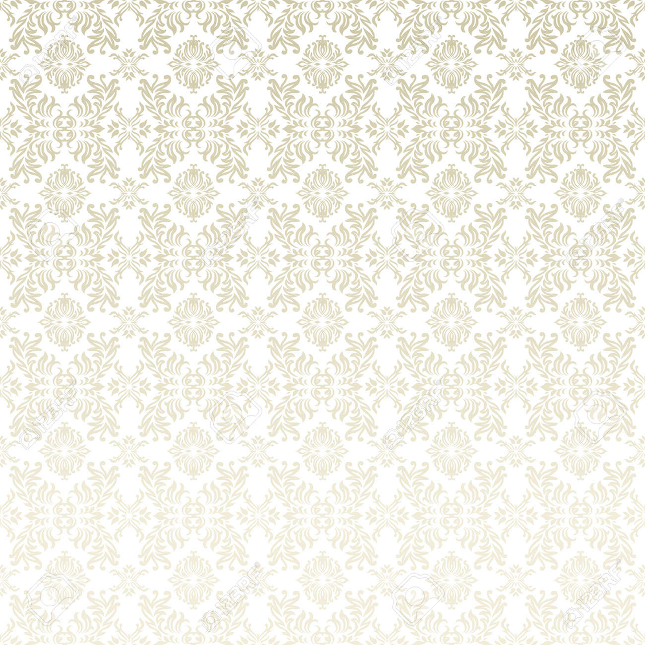Classic gothic floral wallpaper background pattern in white and beige - 8031192