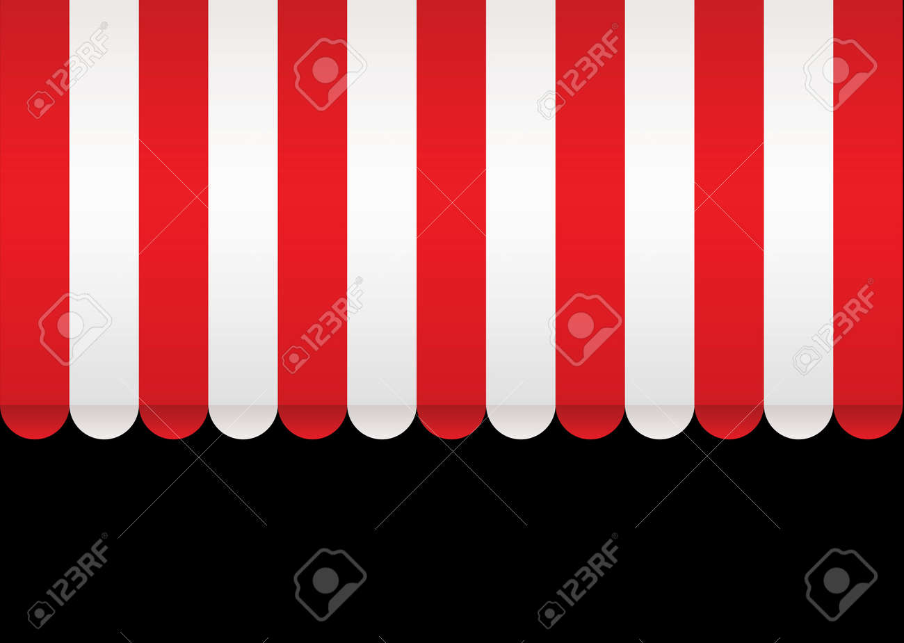 Red and white strip shop awning with space for company name - 8238807