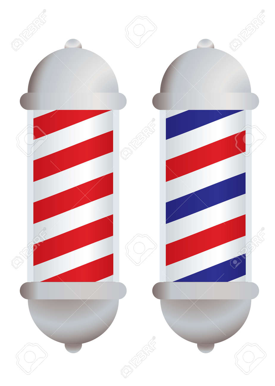 red and white stripe barbers pole with silver elements - 8400014