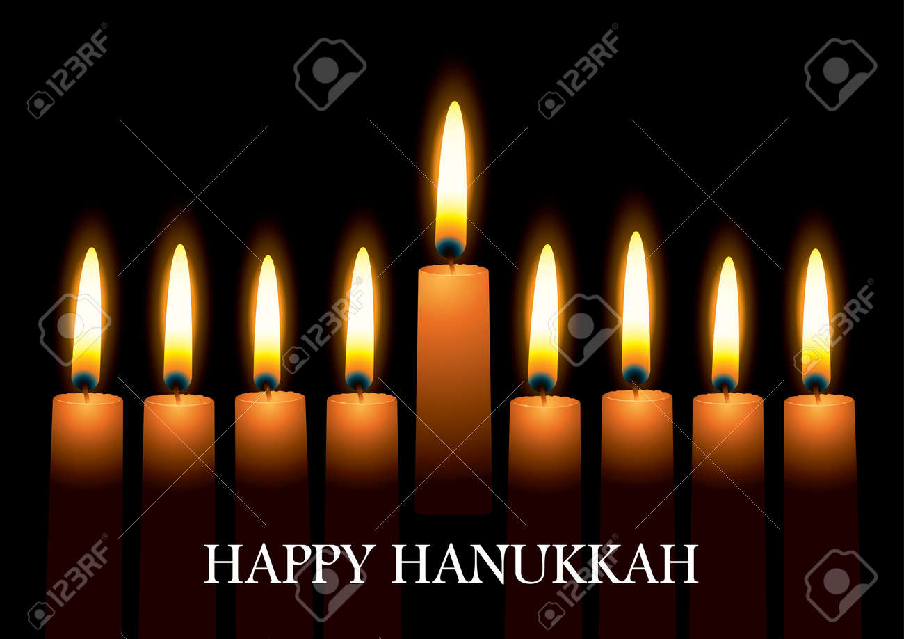 Hanukkah nine candles with burning flames and text - 8679307