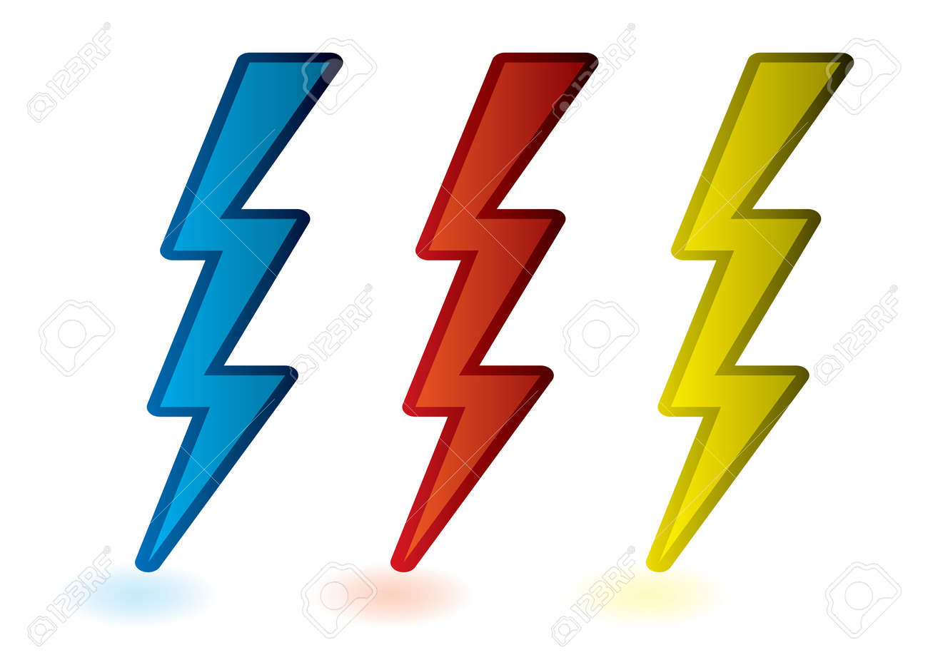 collection of red blue and yellow lightning bolts cartoon stock