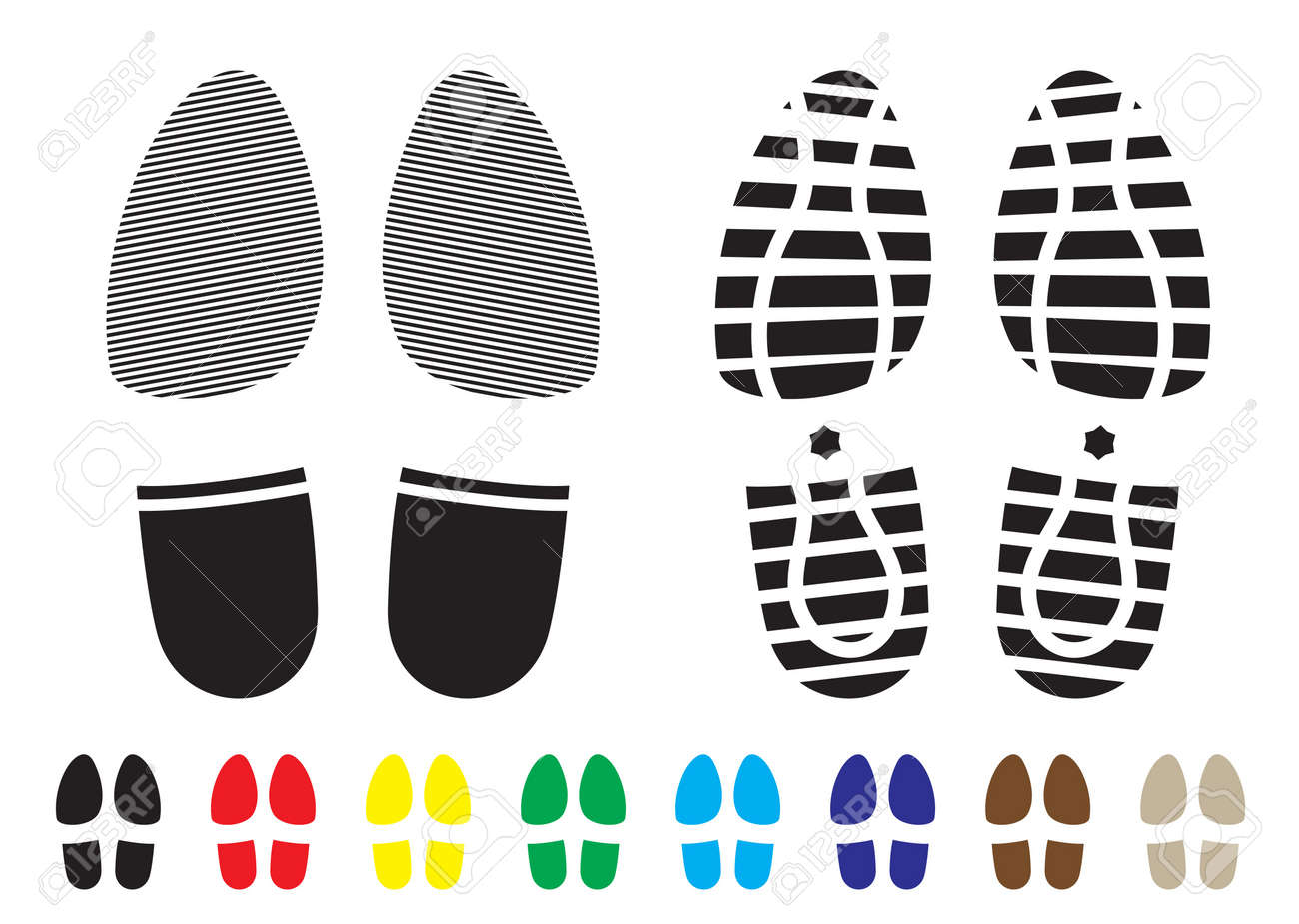 shoe print pattern with outline and template samples Stock Photo - 8757596