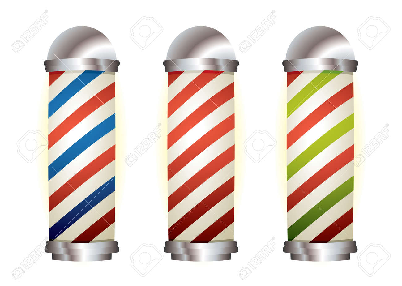 Different stripe barbers poles with silver elements - 9120619