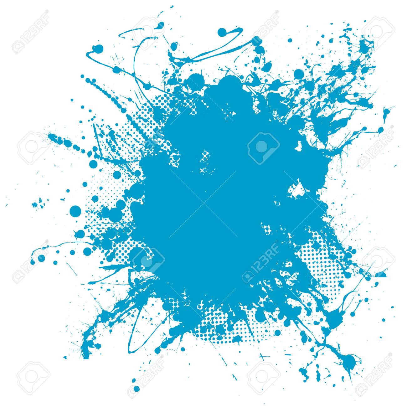 Grunge ink splat background blob with halftone dots - 9413890