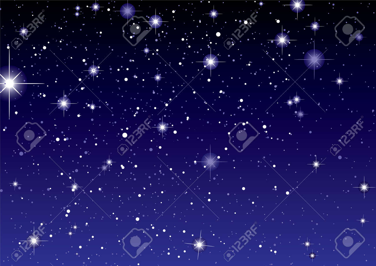 Dark night sky with sparkling stars and planets - 9527966