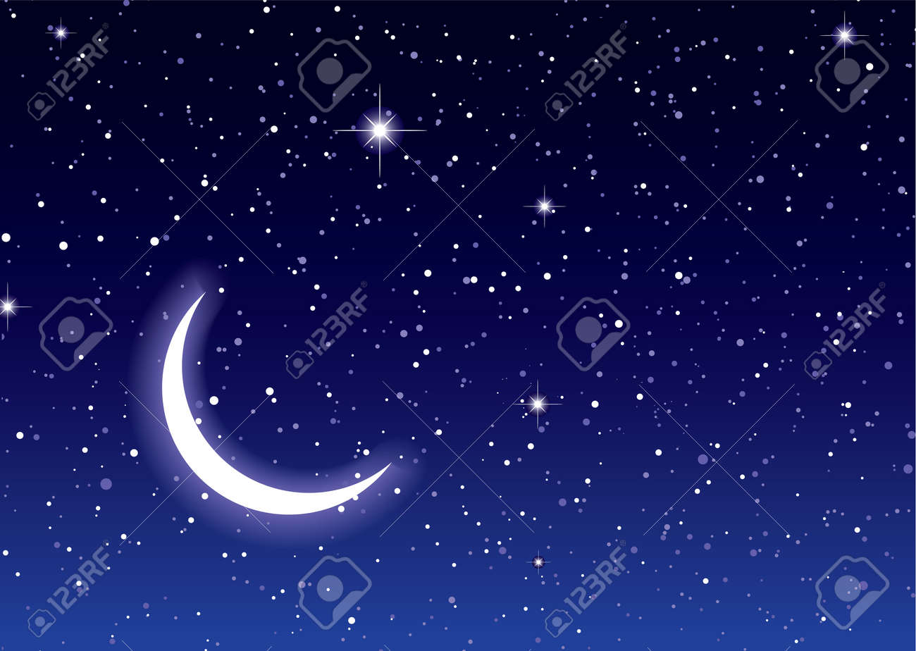 Nights sky with moon and stars ideal desktop or background - 9751415
