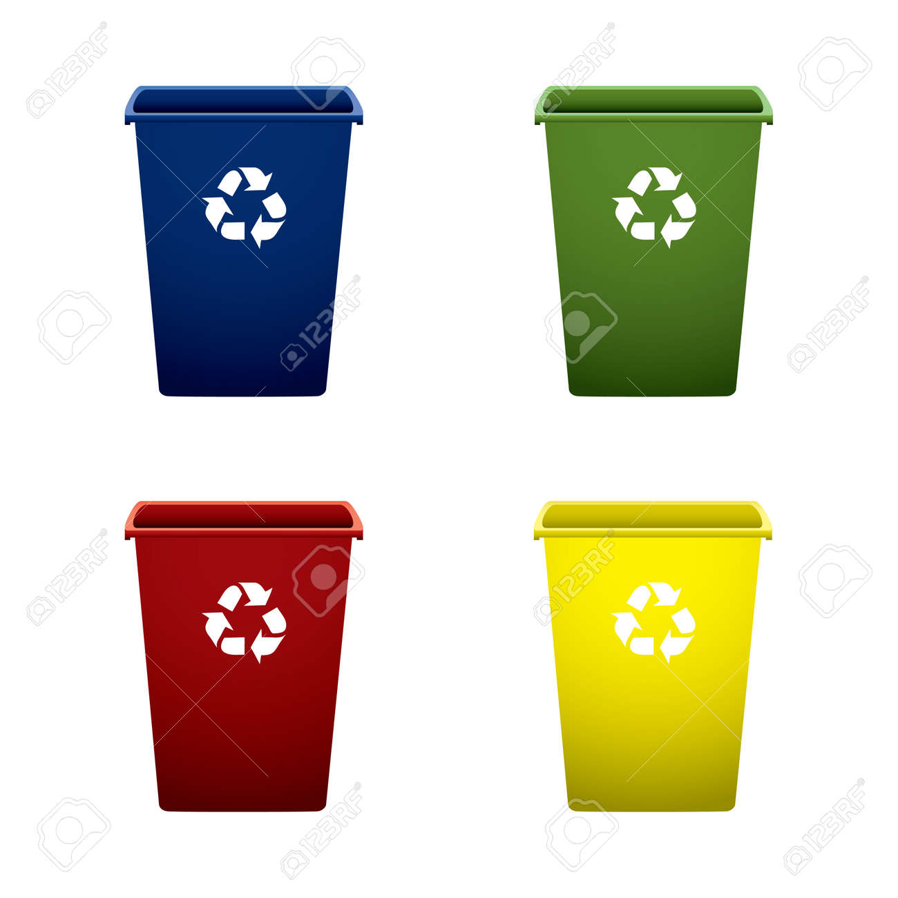 Collection of colourful recycle trash or rubbish bins - 9923693