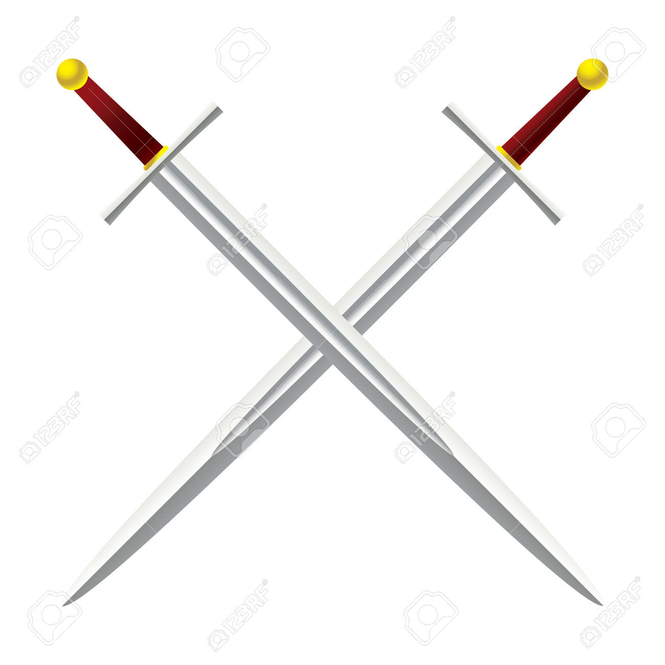 Silver metal sword crossed with red handles - 9923783