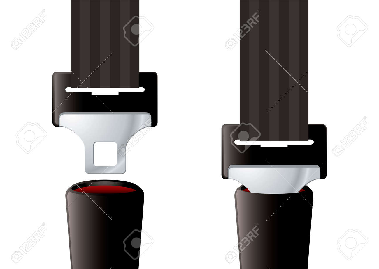 Safety auto seat belt inserted and open - 9923787