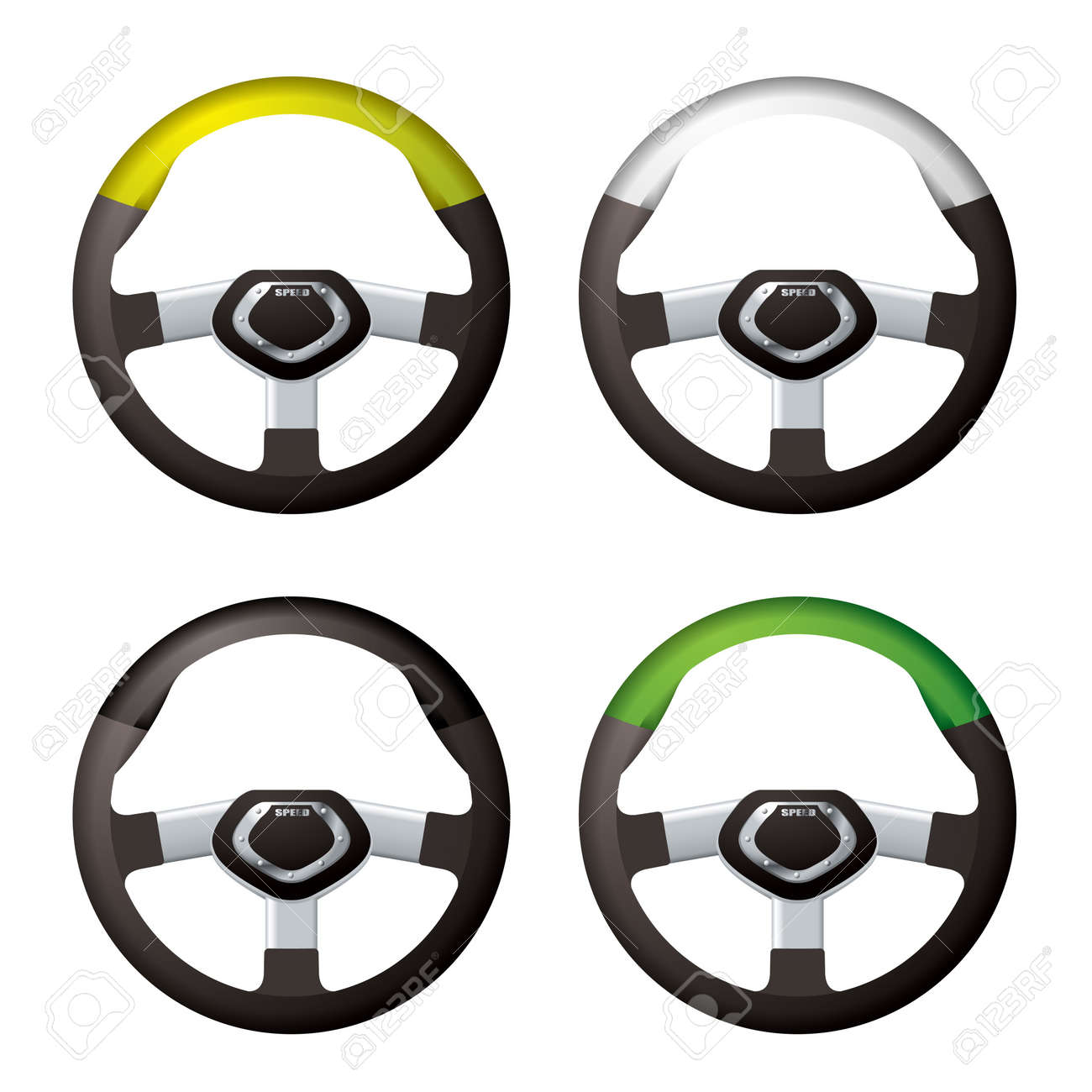 Collection of modern bling steering wheels with silver trim Stock Photo - 10347316
