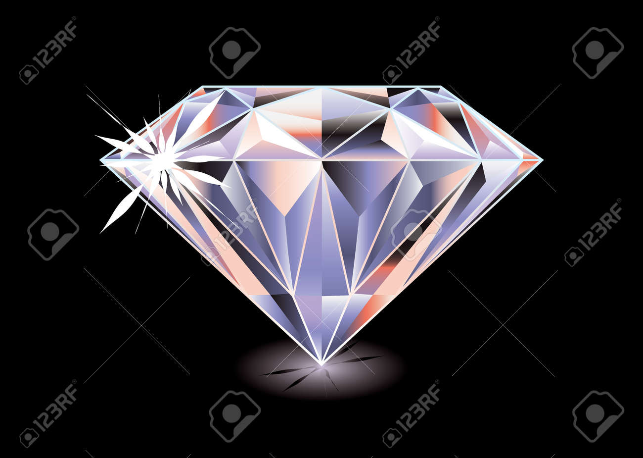 Artistic brightly coloured cut diamond with shadow and reflection on black background - 11995961