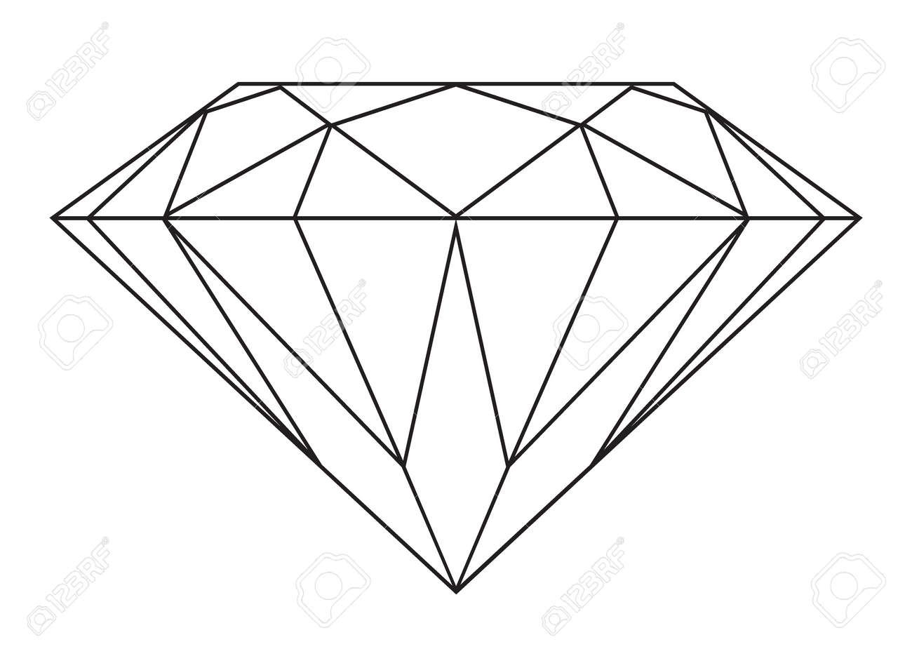 Diamond Drawing Simple black and white diamond