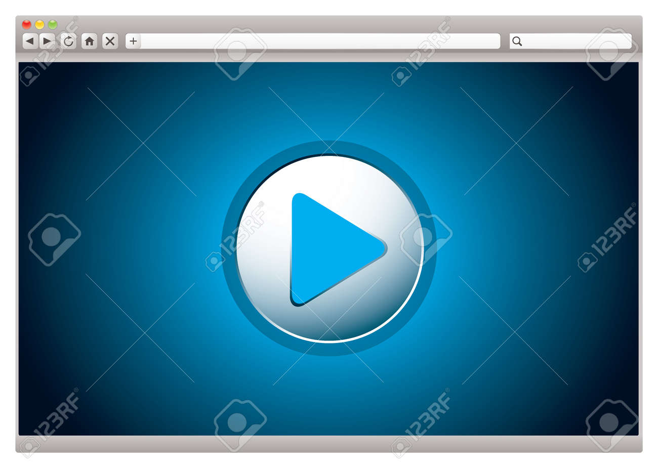 Web internet computer browser with video play button - 11995936