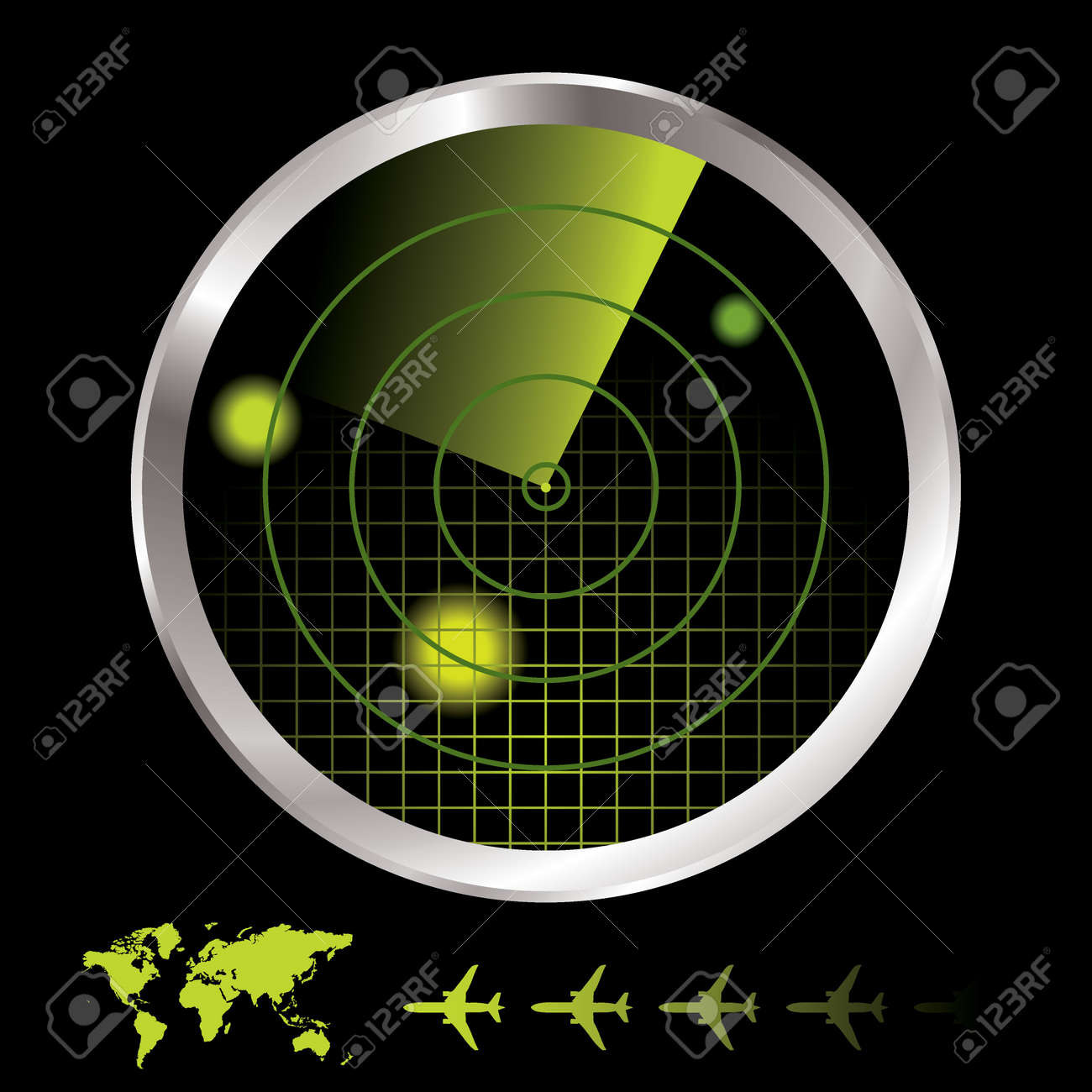 Aircraft radar for airport with world map and plane icon - 11995969