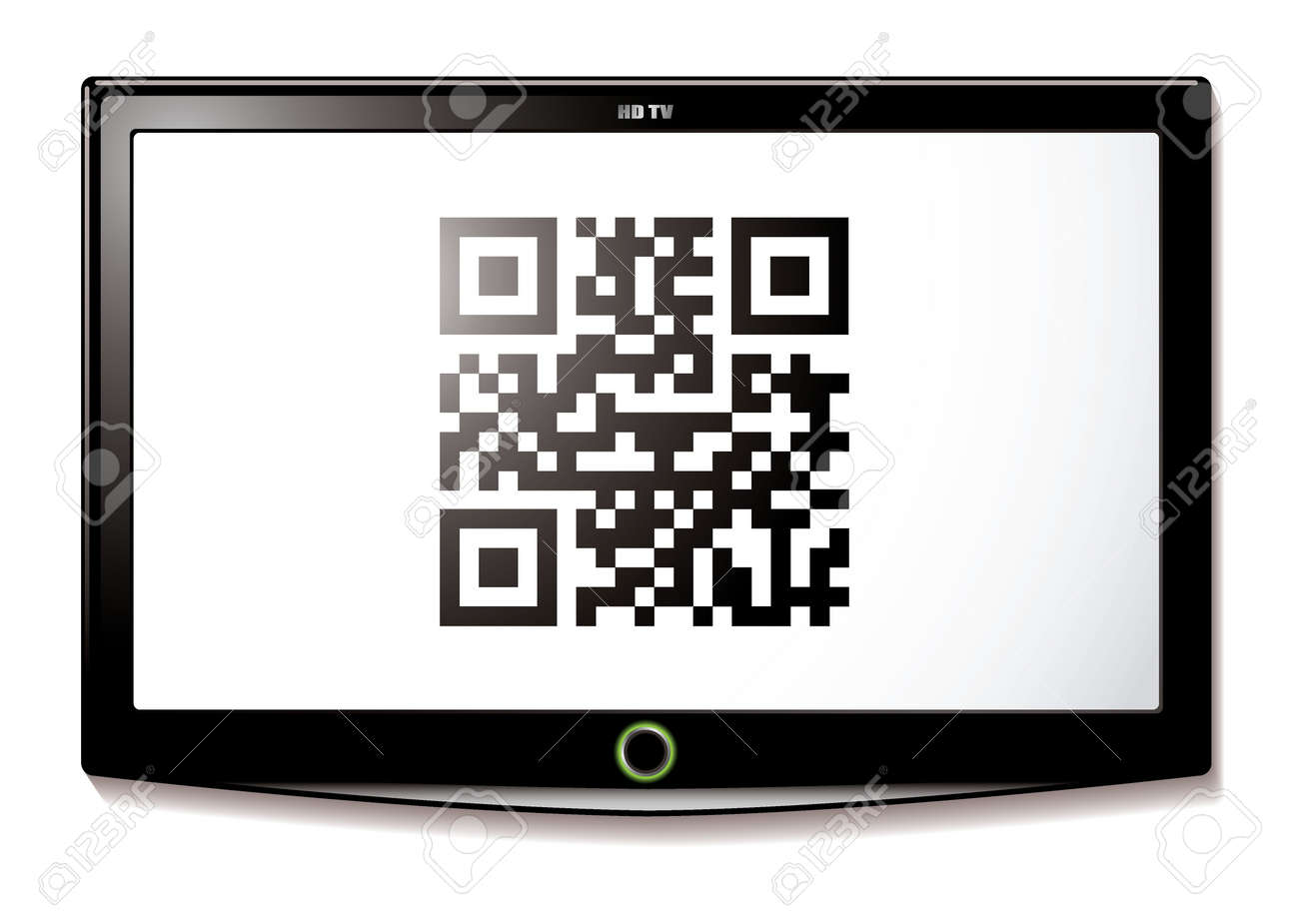 Modern Lcd Tv With Qr Code To Scan For Identification Stock Photo  # Television Moderne