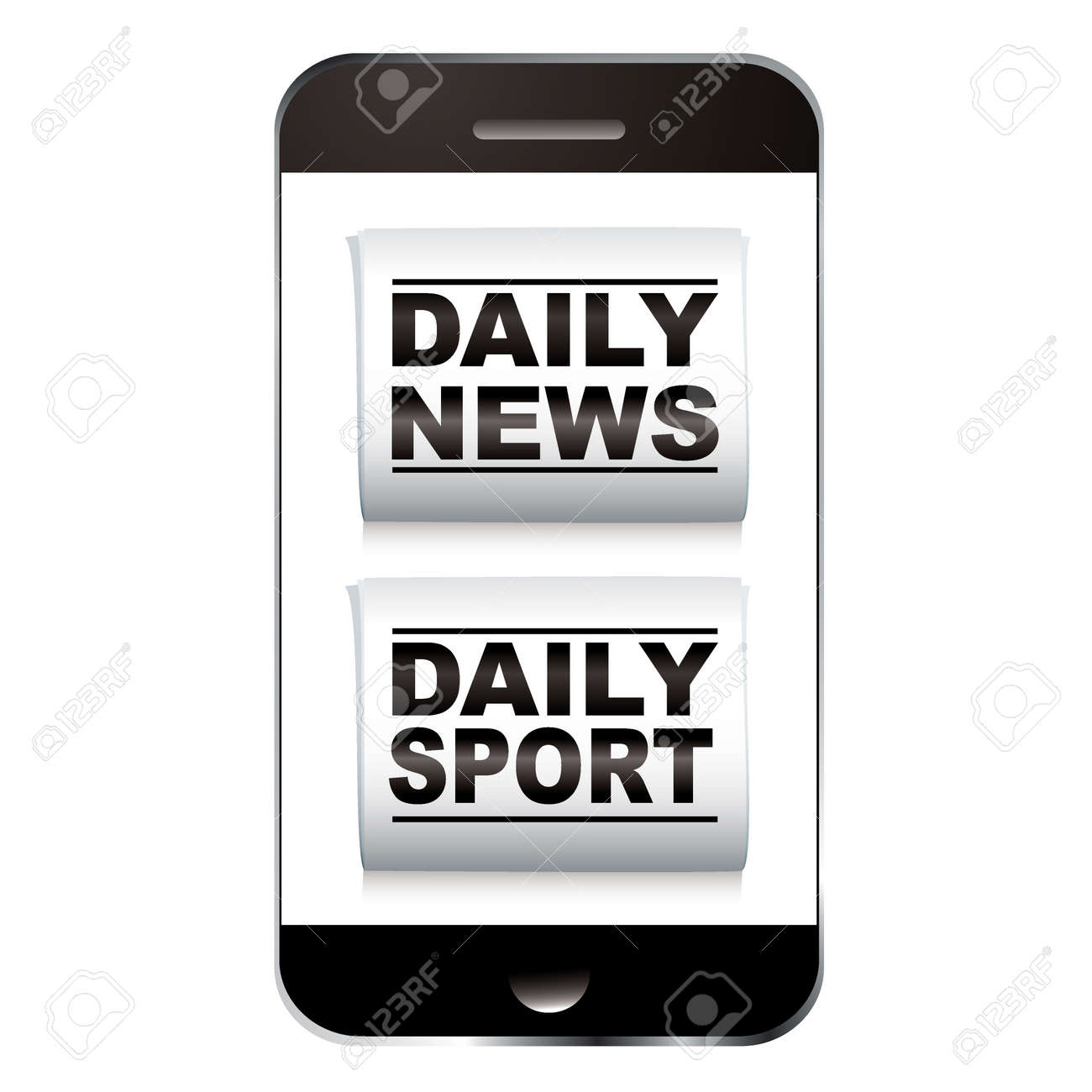Smart phone with news and sport newspaper icon Stock Photo - 12392401