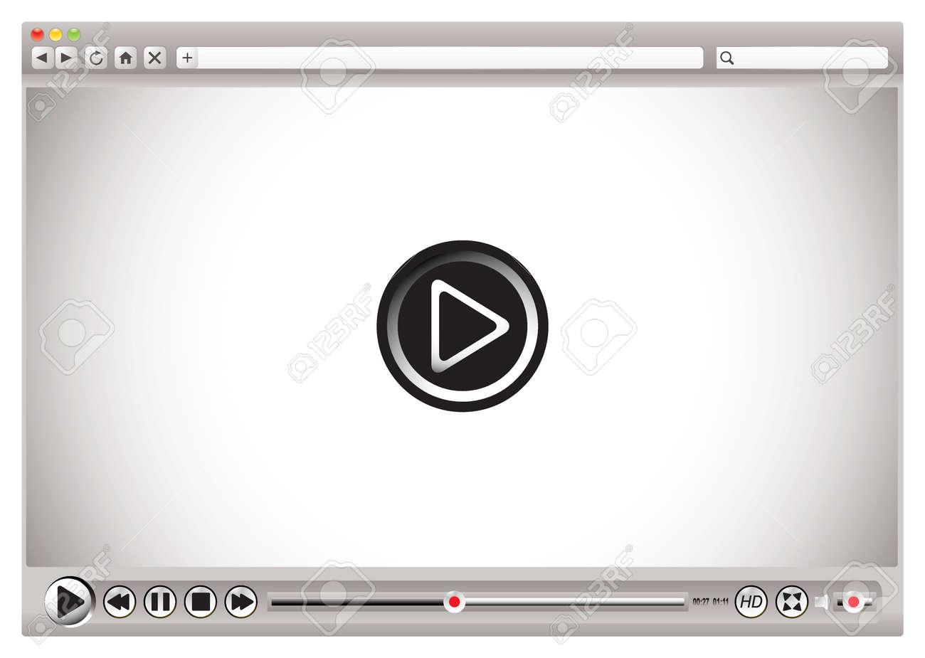 Internet-Video-Steuerelemente Auf Web-Browser Mit Spiel Zurück Bar ...