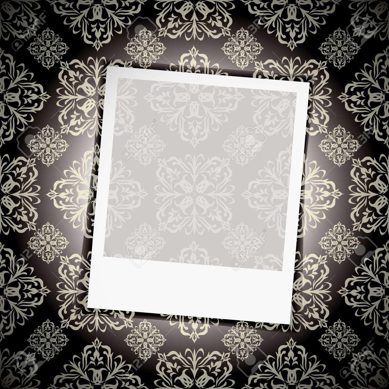 Noir Fond De Papier Peint Floral Avec Photographie Instantanee