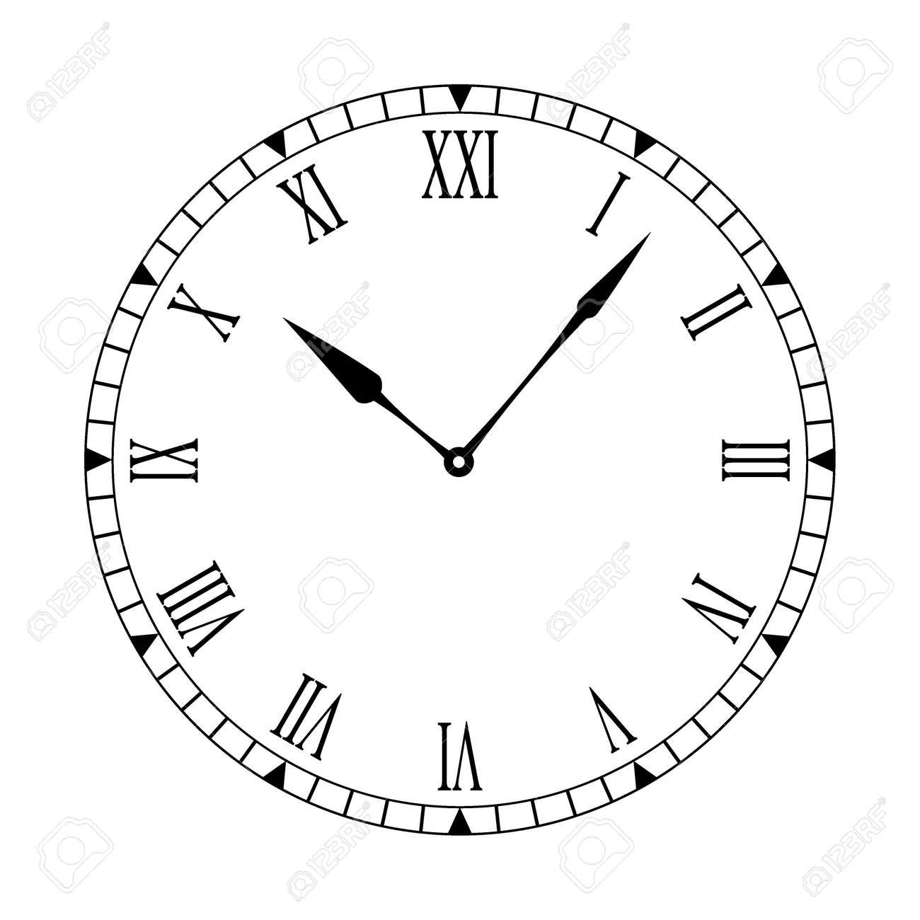 黒と白の時計の文字盤と簡単な読み取りおよび編集の手を