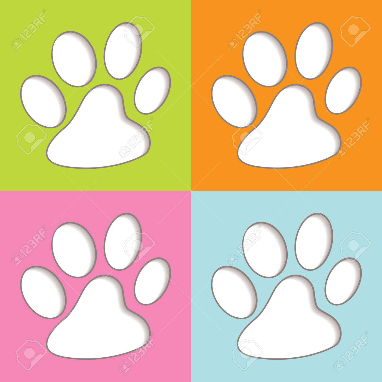 Bright fun colourful animal print icons with shadow - 13348061