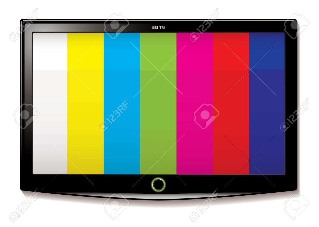 Stripe test screen on modern LCD television mounted on wall - 14053707