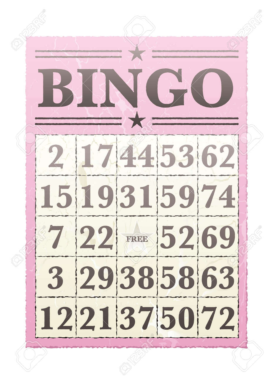 Pink bingo card with randon numbers and retro style - 14872315