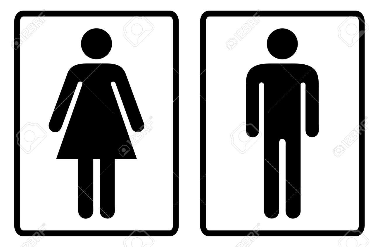 Simple black and white male and female toilet symbols - 14872295