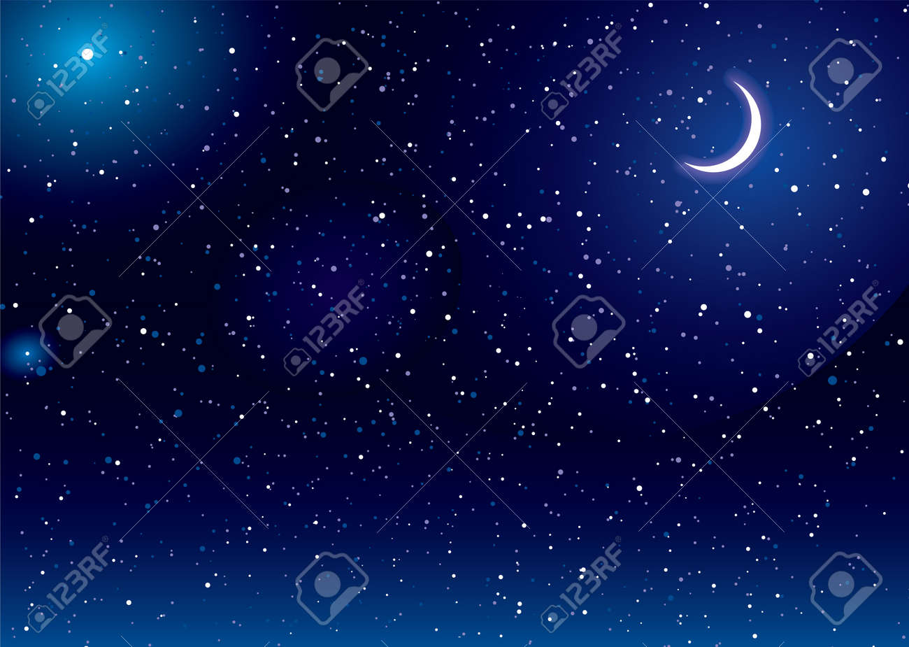 space scene with stars and moon ideal desktop background stock photo