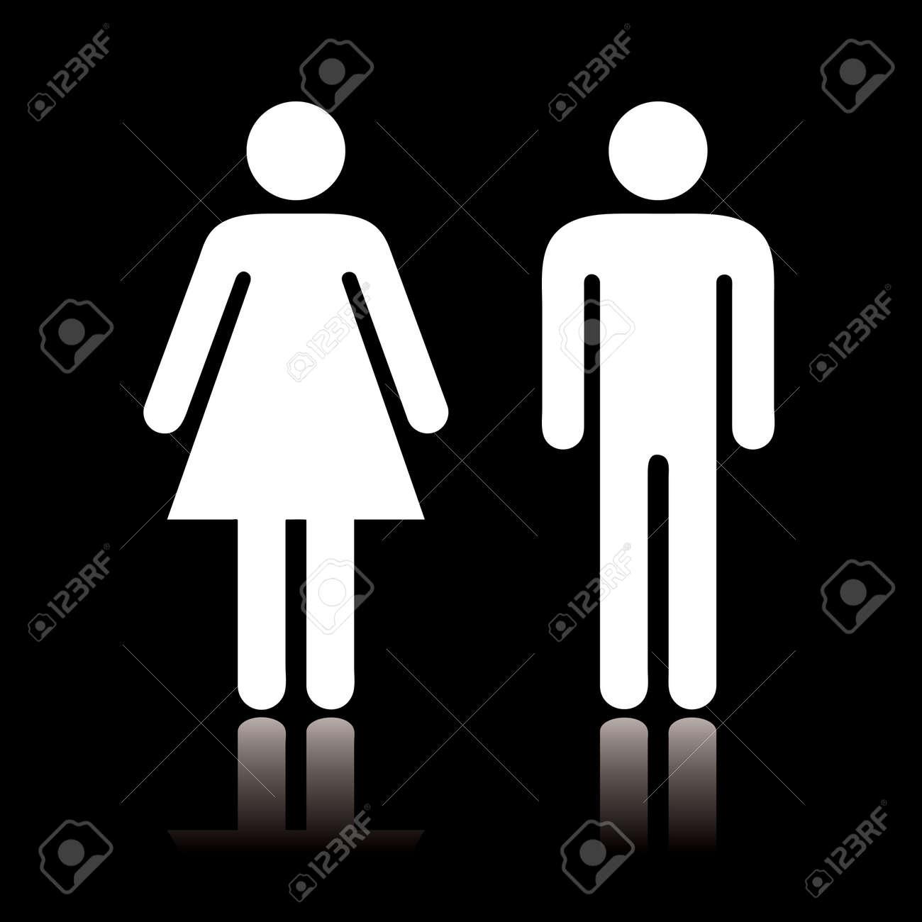 Simple symbole toilette noir et blanc avec la réflexion