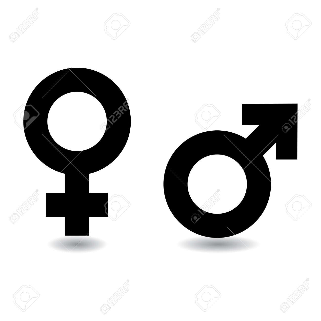 Símbolos Masculinos Femeninos En Blanco Y Negro Con Sombra Fotos