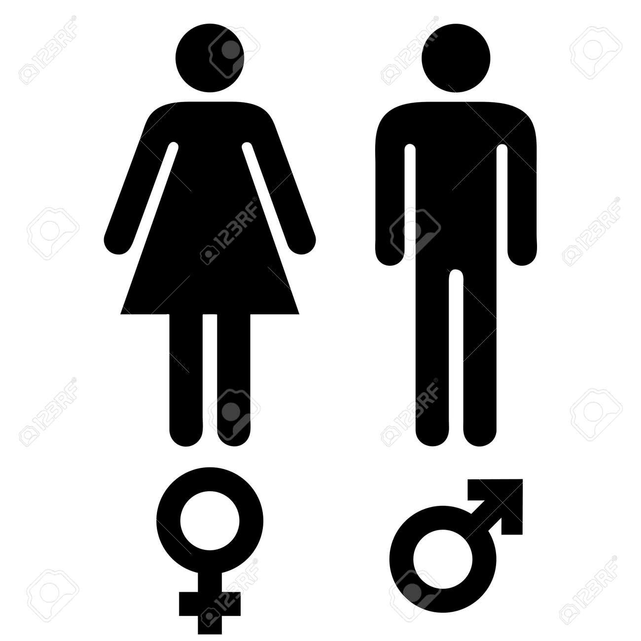 Simples Símbolos Humanos Masculinos Y Femeninos En Blanco Y Negro