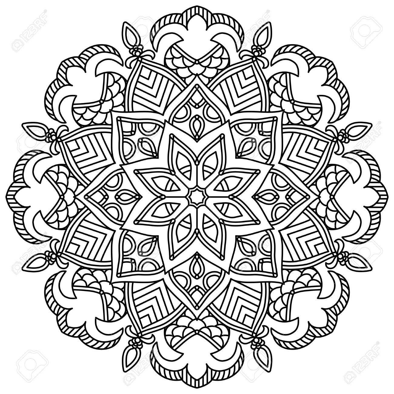 Mandala. Vintage Patrón Ornamento Oval. Elemento Decorativo Para ...