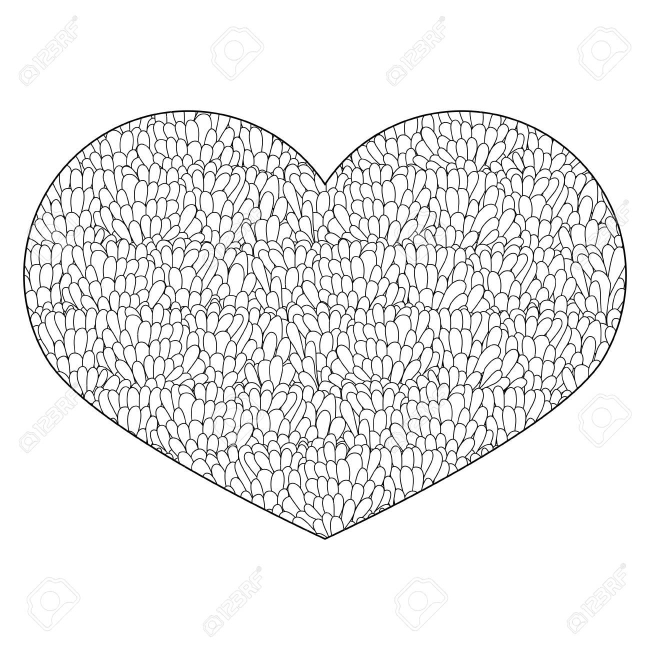 Coloriage Coeur Mariage.Coeur Ornemental Element De Design Fleuri Vintage Pour La Saint Valentin Ou Le Mariage Main Dessinee Coeur Pour Cahier De Coloriage Pour Adulte Et