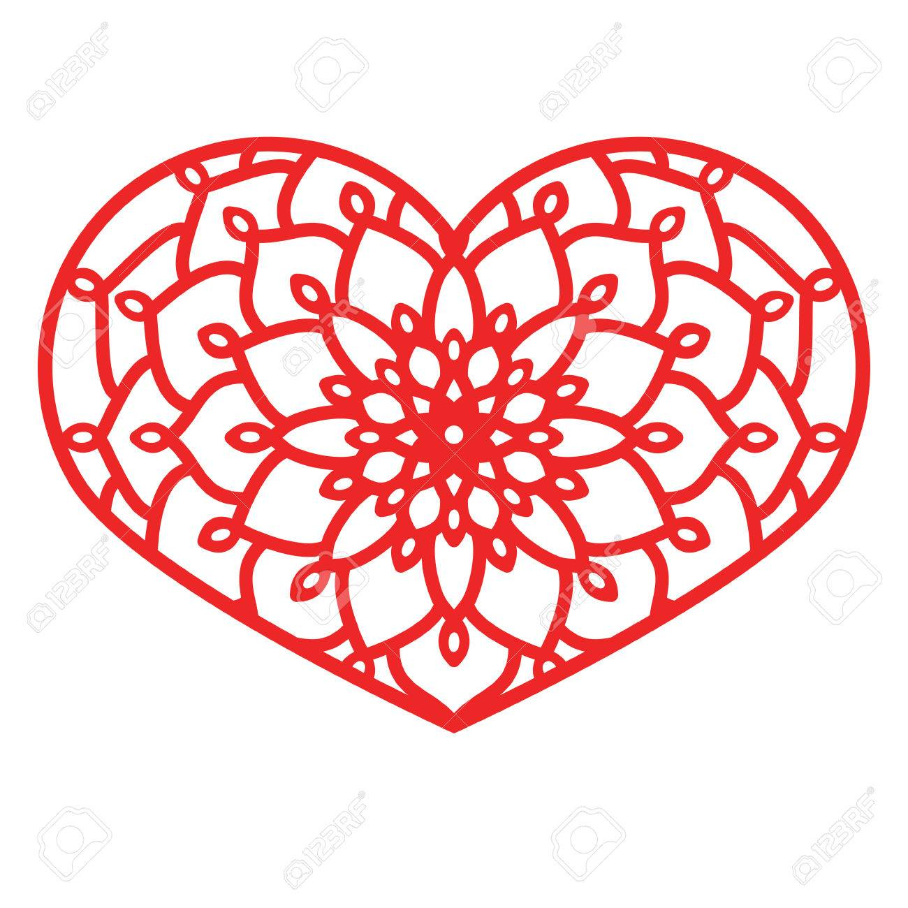 Vector Stencil Lacy Heart With Carved Openwork Pattern Template ...