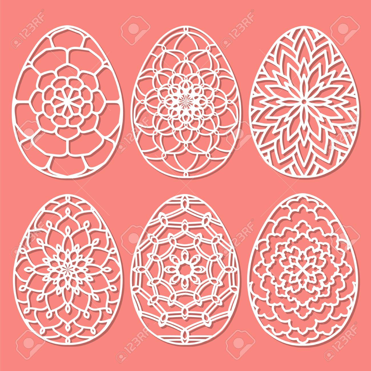 Set Of Vector Stencil Lacy Easter Egg With Carved Openwork Pattern