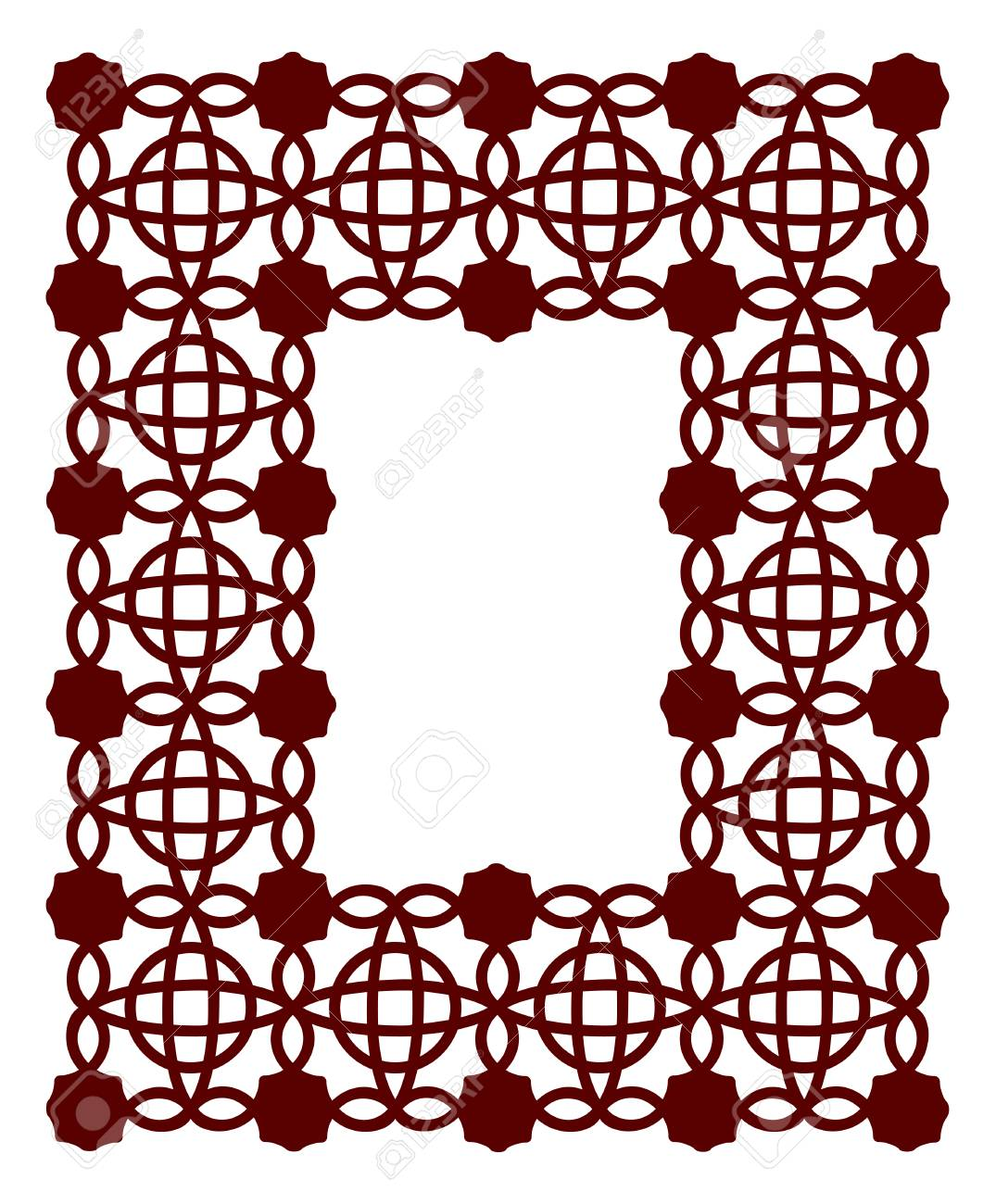 Lacy Frame With Carved Openwork Pattern. Vector Stencil. Template ...