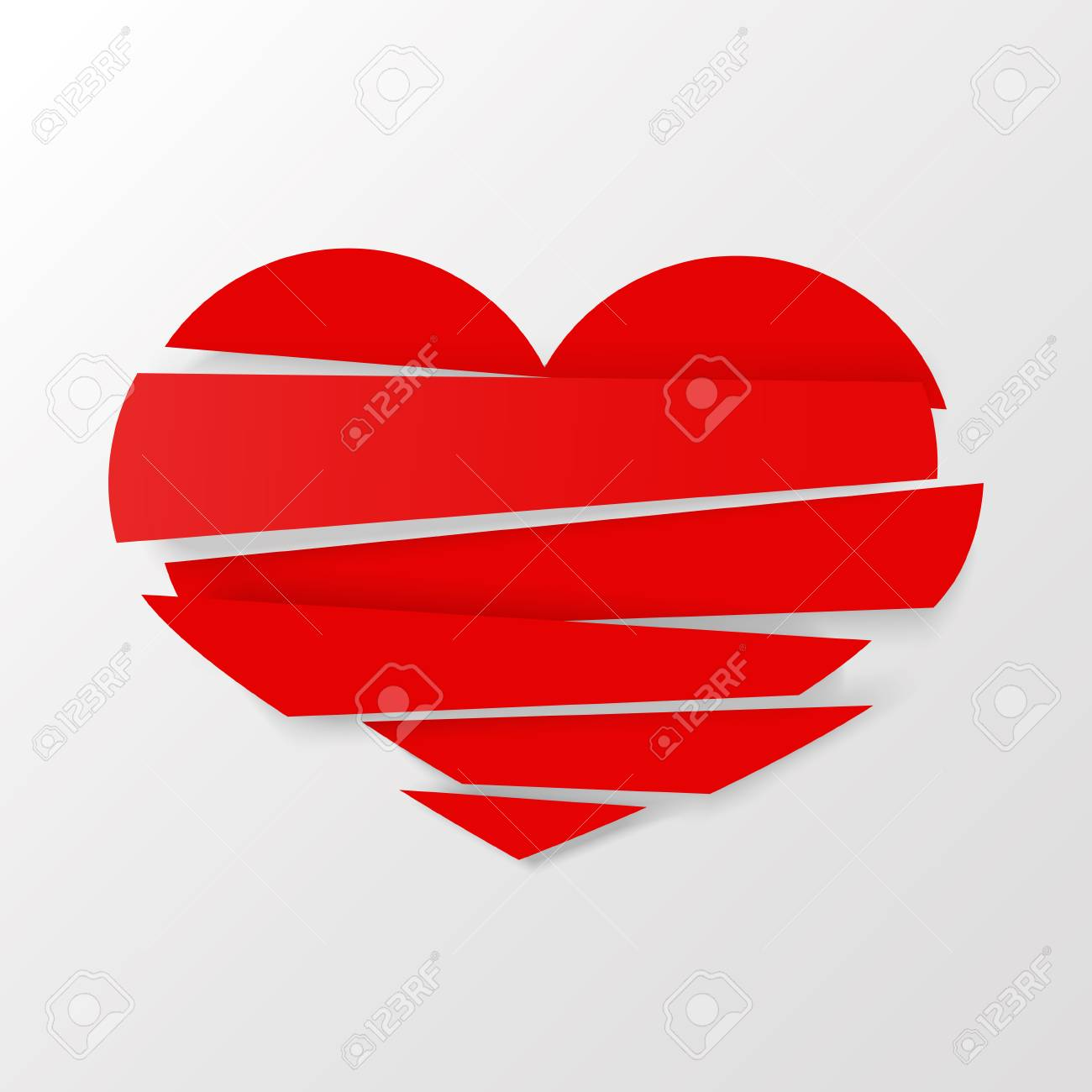 Red stripes broken heart vector on white background could be used as icon sign