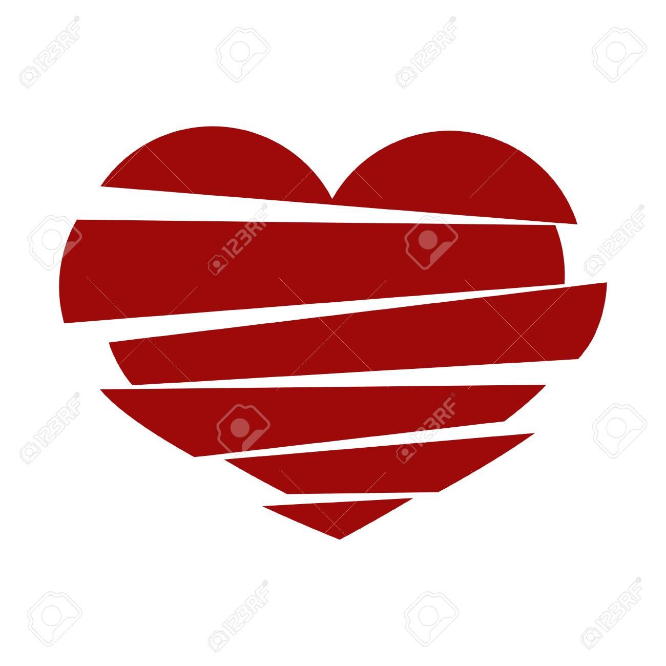 red stripes broken heart vector on white background could be rh 123rf com broken heart icon vector broken heart vector free download