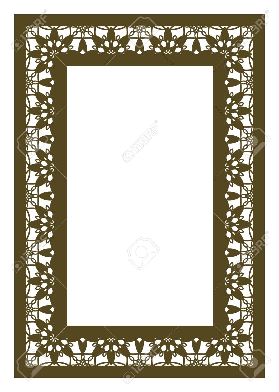 Elegant Ornamental Rectangle Frame With Lace Pattern For Laser Cutting Or Wood Carving Template