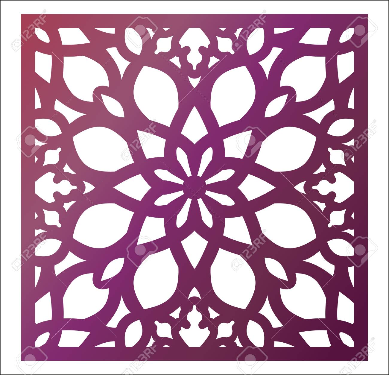 Laser cutting square panel  Openwork floral pattern with mandala
