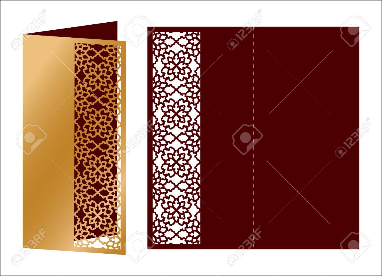 Laser Cut Ornamental Vector Template. Luxury Greeting Card, Envelope ...