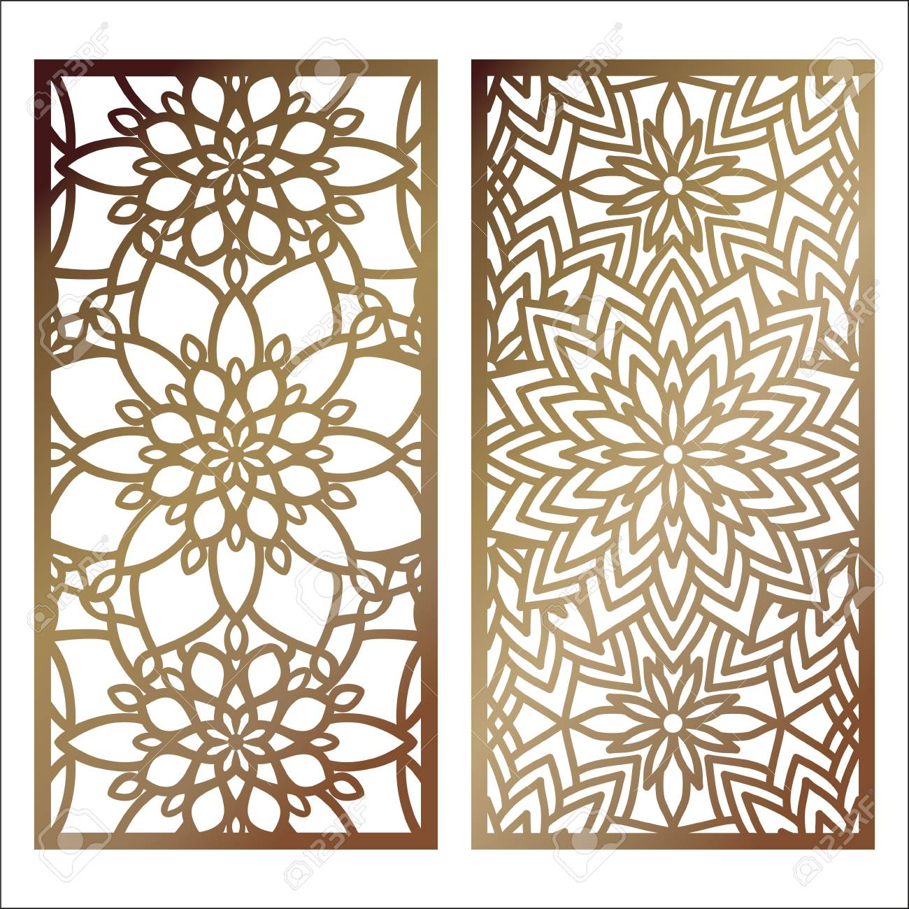 set of vector laser cut panel pattern template for decorative