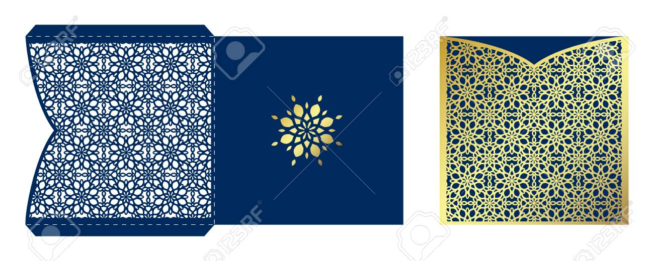 Laser cut ornamental vector template luxury square greeting ornamental embellishment laser cut ornamental vector template luxury square greeting card envelope or wedding invitation card stopboris Images