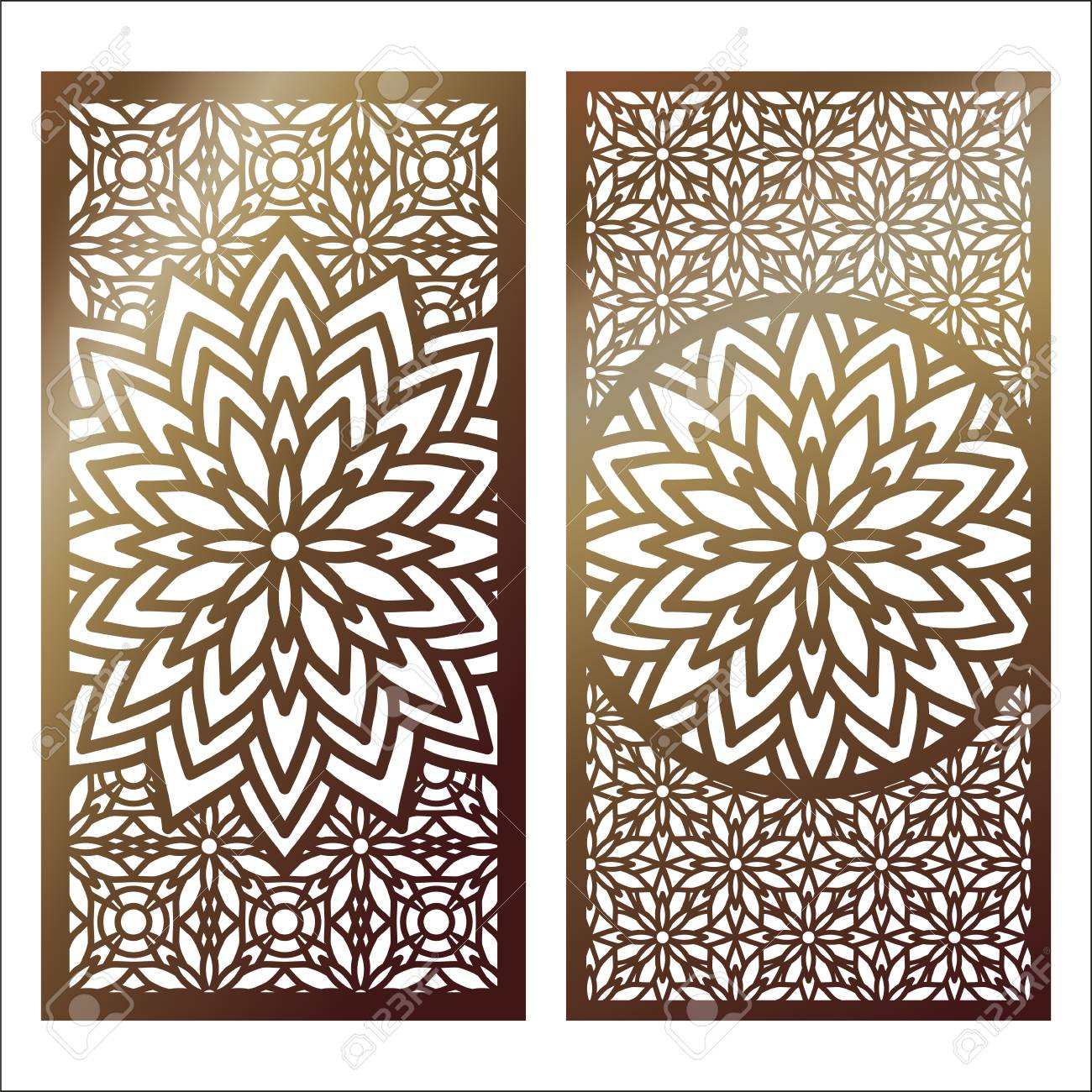 Set of golden laser cut panel with decorative floral designs