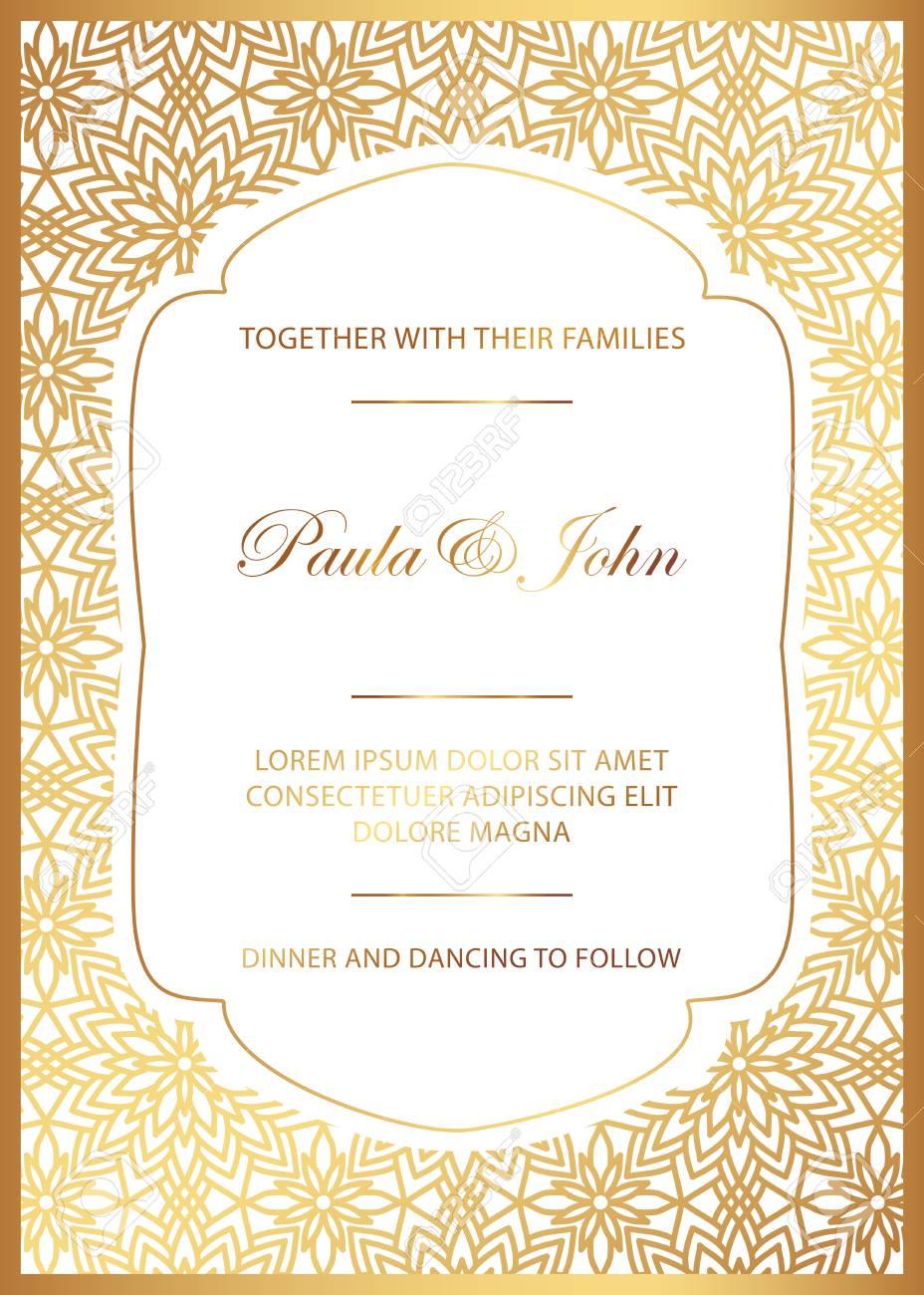 Stylish Gold And White Wedding Card Royal Vintage Wedding