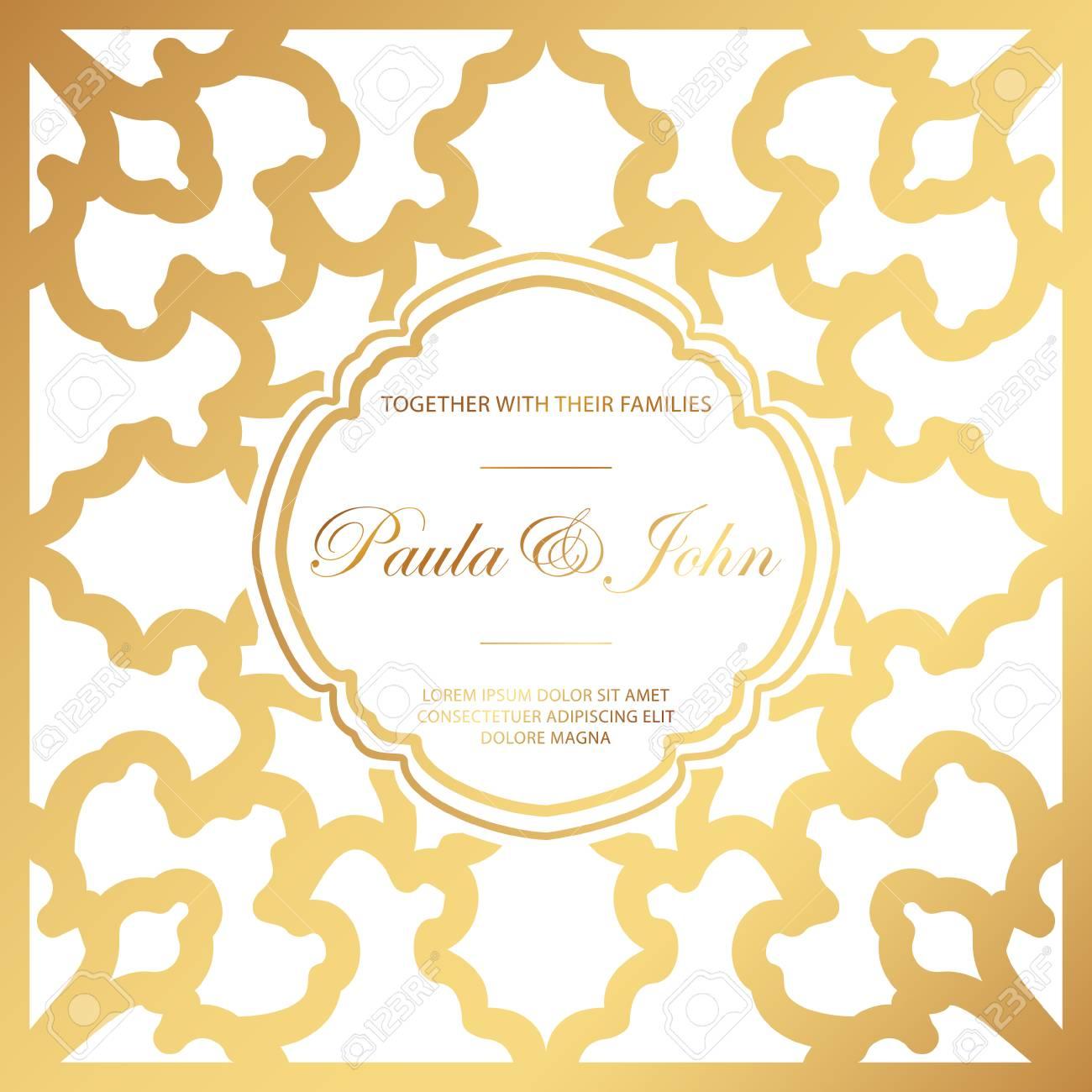 Stylish gold and white wedding card royal vintage wedding stylish gold and white wedding card royal vintage wedding invitation template save the date stopboris Images